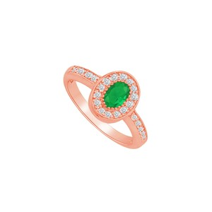 DesignByVeronica May Birthstone Emerald CZ Halo Ring in 14K Rose Gold