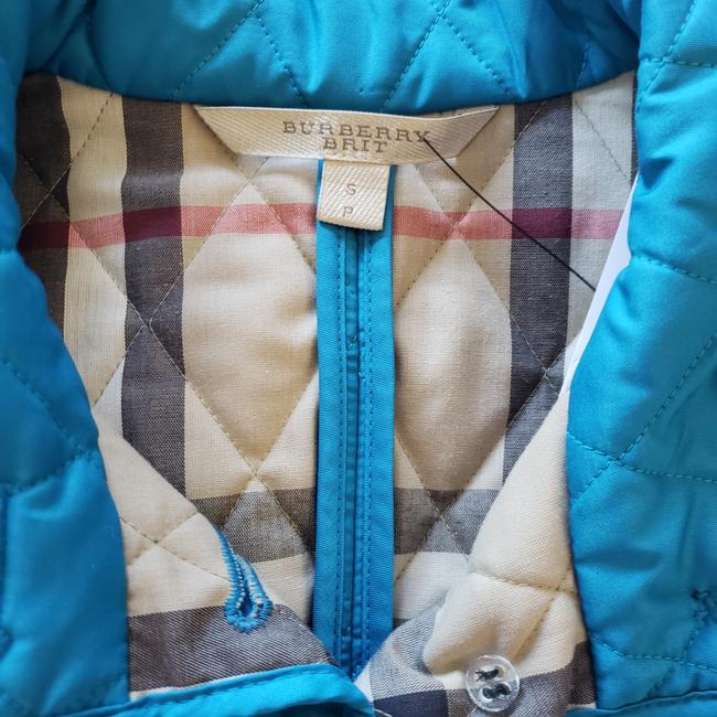 Burberry Nova Check Quilted Plaid Silver Hardware House Check Blue Jacket