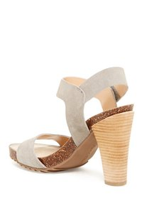 Kenneth Cole Reaction Pedro Garcia Suede Cork Platform Gray Sandals