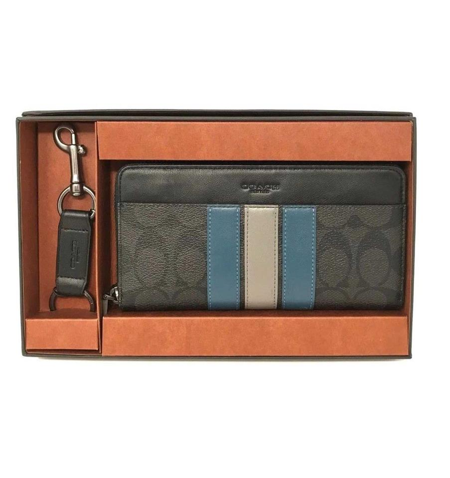 558c6a11b08a Coach Black Mineral Men s Boxed Accordion Gift Set Signature Varsity Stripe  Wallet