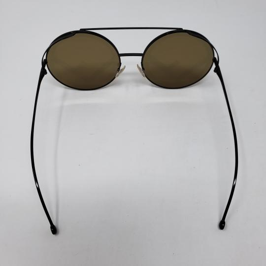 Fendi Olive brown black metallic Fendi F logo round sunglasses