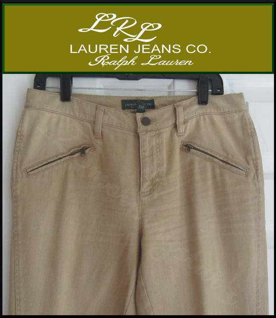 Lauren Jeans Company Skinny Slim Fit Light Distressed Mid Rise Zip Pockets Top Stitched Seams Straight Leg Jeans