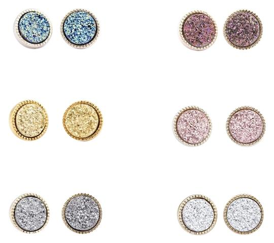 Preload https://img-static.tradesy.com/item/24499334/blue-pink-silver-gray-rose-multicolor-gold-royal-round-druzy-stud-earrings-0-1-540-540.jpg