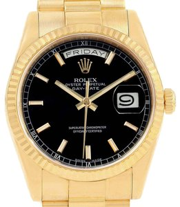 Rolex Rolex President Day-Date Black Dial Yellow Gold Mens Watch 118238