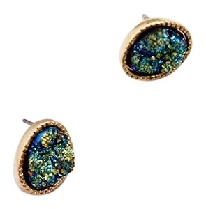 Private Collection Multicolor Royal Shaped Druzy Stud Earrings