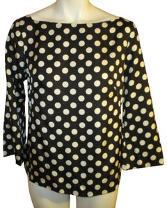 J.Crew Silk Polka Dot 3/4 Sleeve 001 Top Black & white