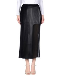 Aviu Pleated Asymmetrical Sheer Maxi Skirt Black