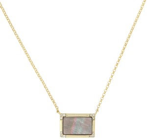 Other NEW Mother of Pearl & Diamond Necklace - 10k Yellow Gold MQ4507