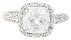 Other NEW Cubic Zirconia Halo Ring - 10k White Gold Engagement N8068