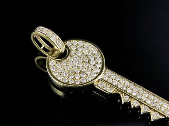 Jewelry Unlimited Mens Ladies 14K Genuine Diamond Iced Key Pendant Charm 1.70 CT 1.9