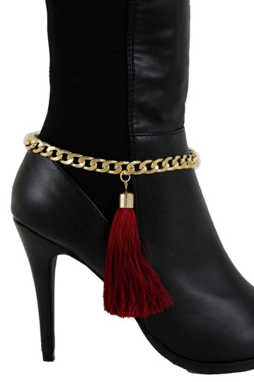 Alwaystyle4you Women Gold Metal Boot Chain Shoe Charm D Red Fringes Burgundy Tassel