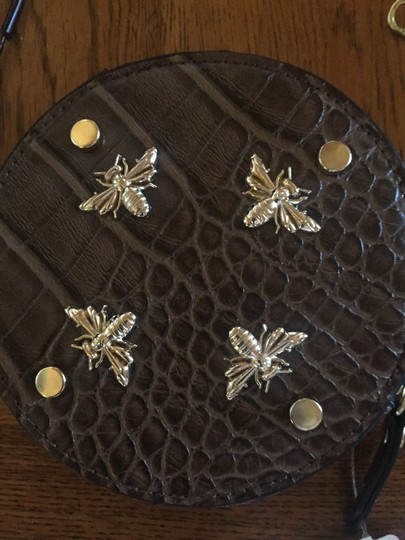Neiman Marcus Charming Bee Design Faux Ostrich Fabric Coin Purse Purse Wristlet in Brown