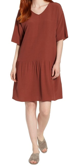 Preload https://img-static.tradesy.com/item/24499795/eileen-fisher-brown-back-neck-tie-short-casual-dress-size-2-xs-0-0-650-650.jpg