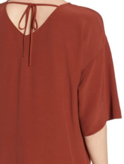Eileen Fisher short dress Brown Back Neck Tie Soft + Flowy V Neck Elbow Sleeves Unlined on Tradesy