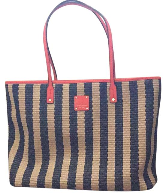 Item - Classic Straw Color/Brown/Orange Woven Material and Leather Beach Bag
