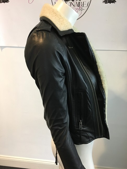 Joie Shearling Vince Theory BLACK Leather Jacket