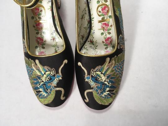 Gucci Embroidered Dragon Satin Leather black Pumps