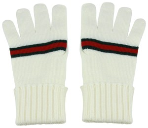Gucci Gucci White Wool Gloves with GRG Web M 294732 9066