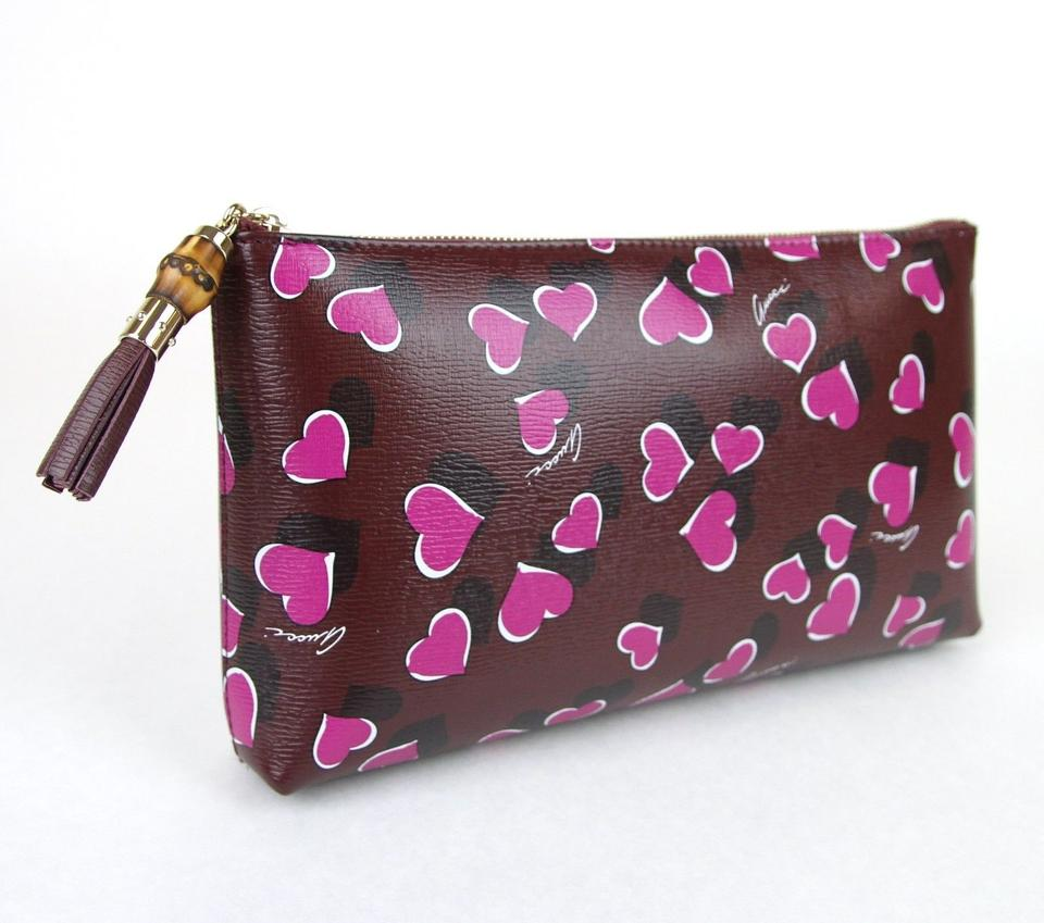 a5541ad15 Gucci Heartbeat Leather Pouch Burgundy 5009 Clutch Image 8. 123456789