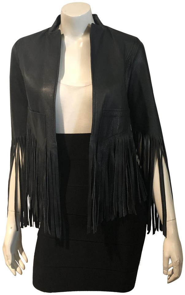 d7adfff99 Topshop Navy Kate Moss 111018 Leather Fringe Moto Jacket Size 2 (XS) 47%  off retail