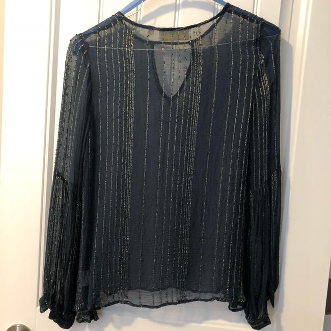 Love Sam Sheer Embroidered Keyhole Fall Top Navy