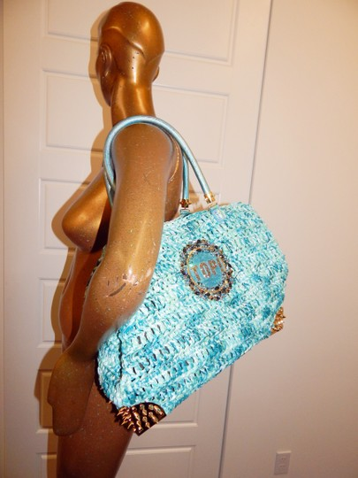Philipp Plein Straw Studded Jeweled Leather Tote in Blue