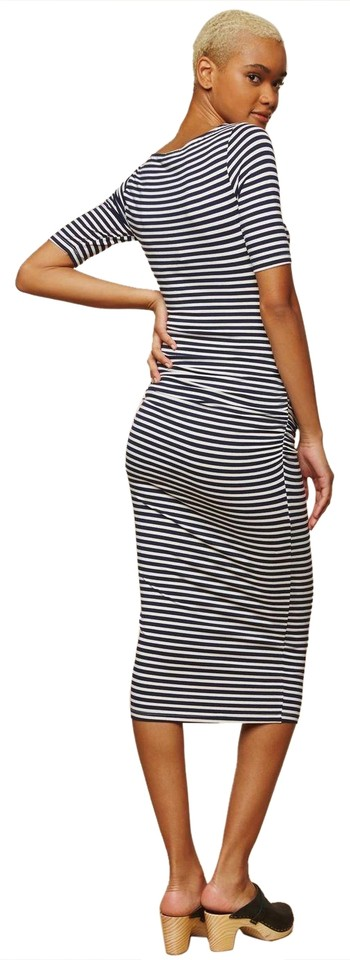 a0ff841078b Mimi Maternity Striped Side Ruched Maternity Dress - size L Image 0 ...
