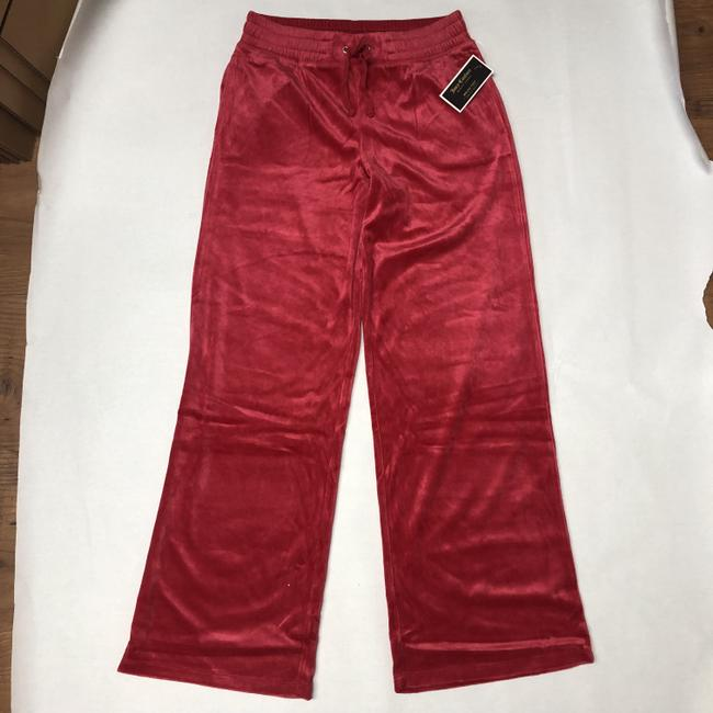 Juicy Couture Midrise Verlour Suede Boot Cut Pants Hot Pink