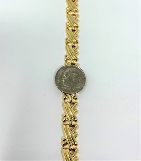 Other 14k Yellow Gold Hollow X Cross Fancy Link Bracelet Italy 7 Inches