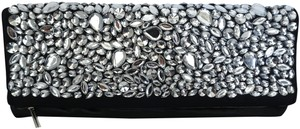 BCBGMAXAZRIA Ballerina Rhianna Vegan Leather Rhinestone Black Clutch