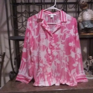 Oscar de la Renta Button Down Shirt Pink and white
