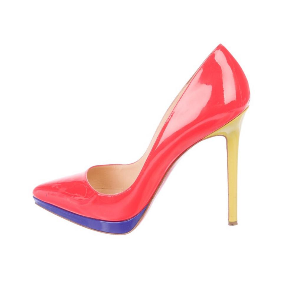 6e9ed91ea7d Christian Louboutin Red Coral Neon Yellow Violet Pigalle Plato Colorblock  Platforms