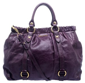 ad775c8392 Miu Miu Leather Satin Vitello Tote in Purple
