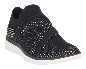 Merrell Slip On Styling Round Toe Vamp Strap Closure Cushioned Footbed Knit Construction Black Athletic