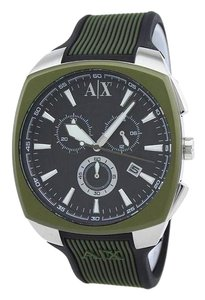 A|X Armani Exchange AX1171 Men's Green Silicone Bracelet With Black Dial Analog Watch