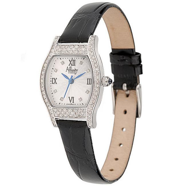 Item - Black / Silver Affinitydiamond 4/10 Ct Tw Sterling with Swiss Movement Watch
