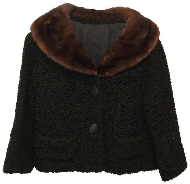 Vintage Black Brown Persian Lamb & Mink Coat Size 4 (S) Vintage Black Brown Persian Lamb & Mink Coat Size 4 (S) Image 1