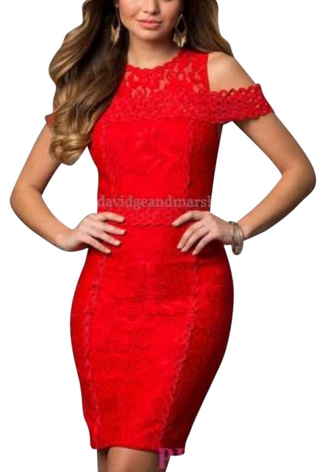 311a729567c PromGirl Red Price Drop Just Me Lace Cold Shoulder Crochet Sheath Cocktail  Dress
