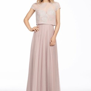 Hayley Paige Collections Blush / Dusty Rose Caviar / English Net 5766 Modest Bridesmaid/Mob Dress Size 12 (L)