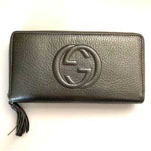 Gucci NEW Gucci Silver Grey Long Soho Leather Wallet
