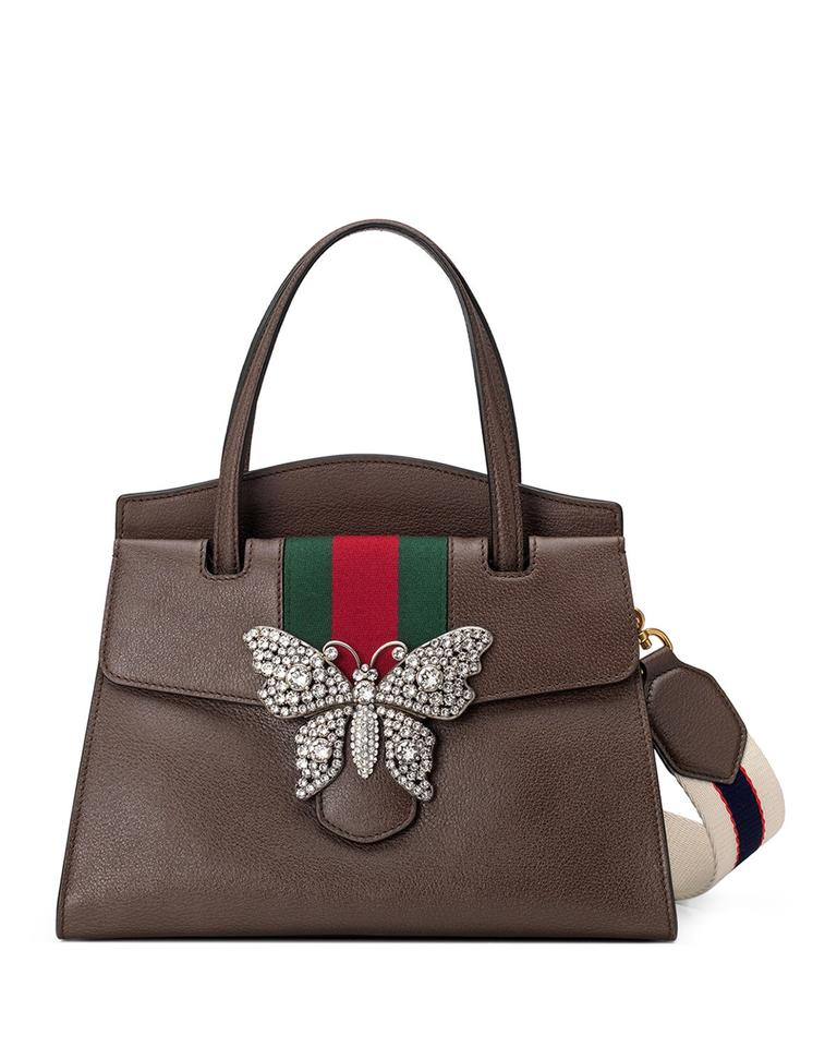 bce349f84724 Gucci Linea Totem Medium Top-handle with Butterfly & Web Strap Brown ...