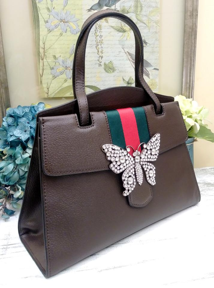 d57c8ae1b77 Gucci Linea Totem Medium Top-handle with Butterfly   Web Strap Brown ...