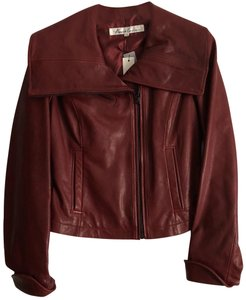 Kenneth Cole Merlot Leather Jacket