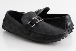 Louis Vuitton Black Damier Hockenheim Moccasin Leather Loafers Shoes