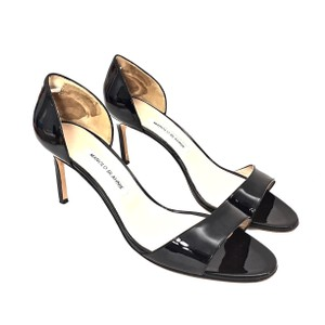 Manolo Blahnik Patent Leather Open Toe Black Pumps