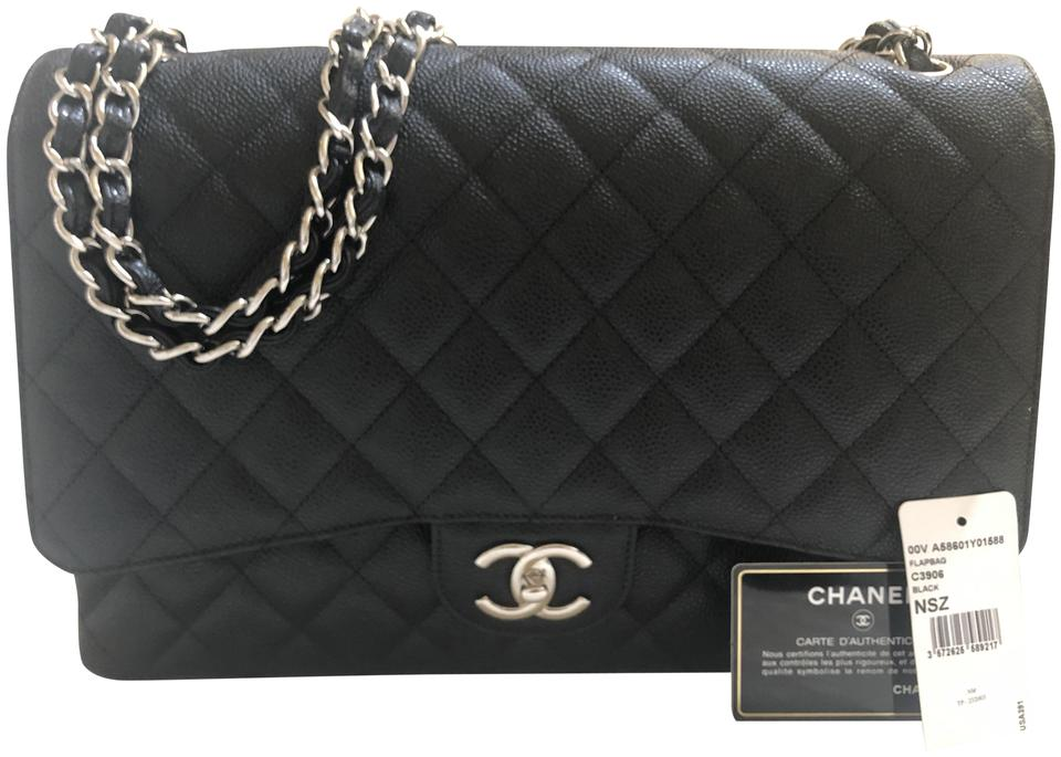 Chanel Classic Double Flap Maxi Silver Hardware Black Caviar Leather Shoulder Bag