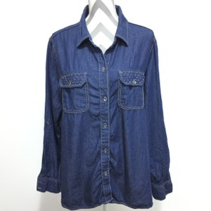 Seven7 Studs Denim Button Down Shirt Blue