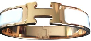 Hermès Hermes White and Rose Gold Clic Clac H Bracelet PM with Box!
