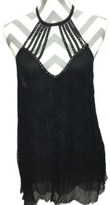 Pins and Needles Urban Outfitters Strappy Studs Raw Hem Top Black