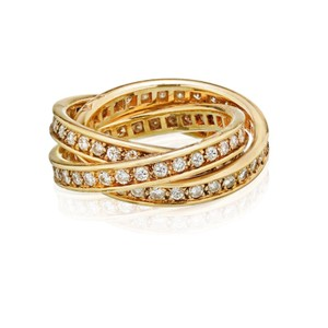 Cartier Diamond Set Cartier Trinity Yellow Gold Rolling Ring US 5.5 1.55cts